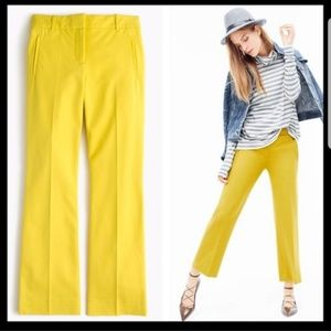 J Crew Yellow Teddie Cropped Pants 10 Tall